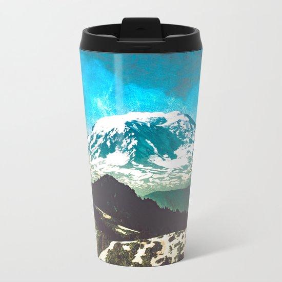 Mt Adams from Mt Rainier Washington State Metal Travel Mug