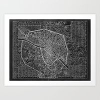 paris map Art Prints featuring Paris map by Le petit Archiviste