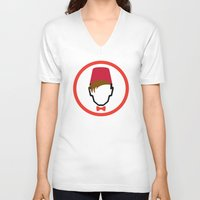 fez V-neck T-shirts featuring Man With Fez by Evan Ayres