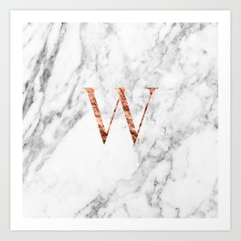 Monogram rose gold marble W Art Print
