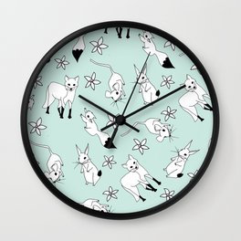 Woodland Creatures - Turquoise Wall Clock