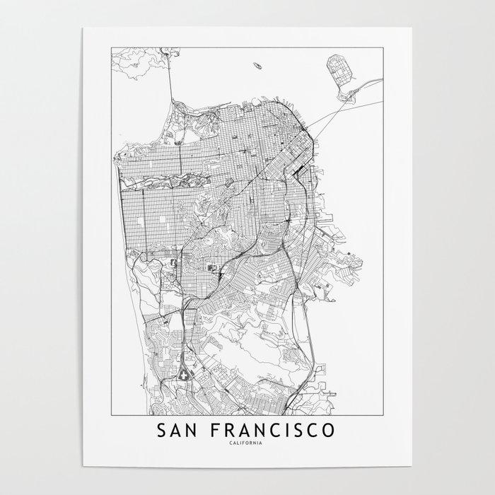 San Francisco White Map Poster