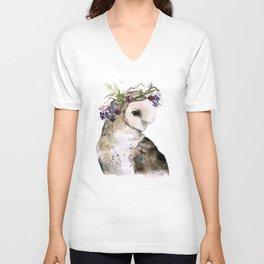 Flower Crowned Barn Owl Unisex V-Neck