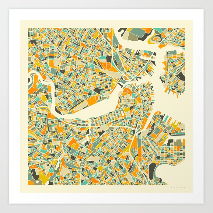 Boston Map Art Print By Jazzberryblue Society6