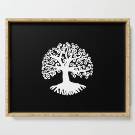 black and white abstract tree of life II Serving Tray