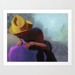 Little Hands: Digital Edit Purple and Gold Art Print
