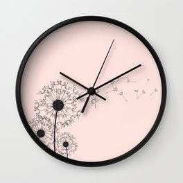 Contemporary Pink Dandelion Drawing Wall Clock