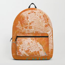 Chihuahua, Mexico, Gold, Blue, City, Map Backpack