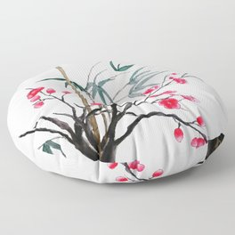 bamboo and red plum flowers Floor Pillow