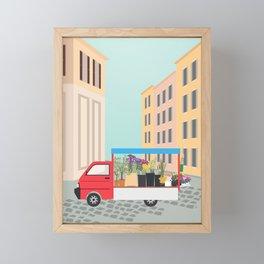 Flower Truck in Rome, Italy Framed Mini Art Print