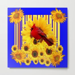 BLUE WESTERN YELLOW SUNFLOWERS RED CARDINAL Metal Print