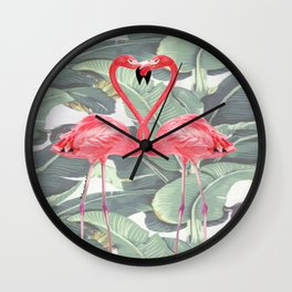 Flamingo Lovers Wall Clock