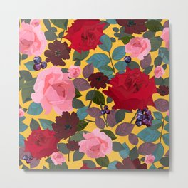 Vintage Red Pink Roses and Chocalate Cosmos Flower Pattern Metal Print