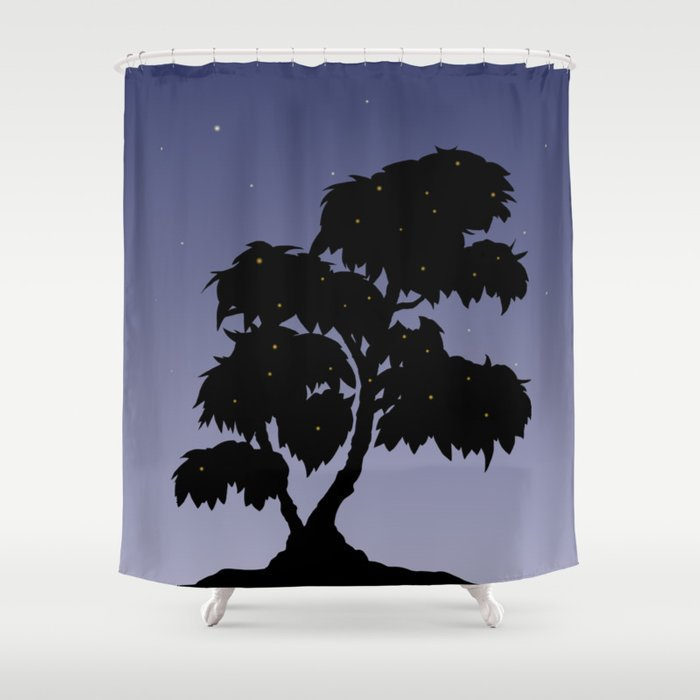 Firefly Tree Sunset With Stars Shower Curtain By Studiogooz