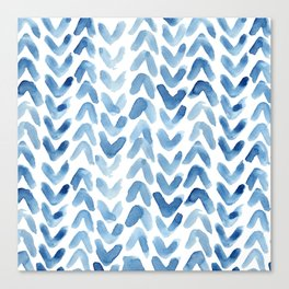 Blue Chevron Watercolour Canvas Print