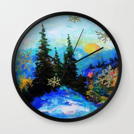 Blue Snowy Mountain Scenic Landscape Wall Clock