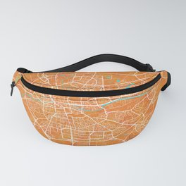 Rennes, France, Gold, Blue, City, Map Fanny Pack