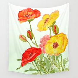 red and yellow  poppies Wall Tapestry