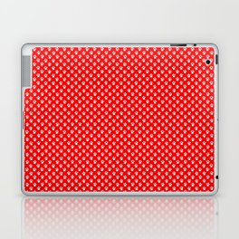 Tiny Paw Prints Pattern - Bright Red & White Laptop & iPad Skin