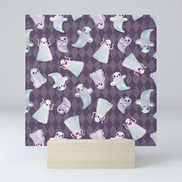 Hand Painted Halloween Kawaii Ghost Pattern On Violet Mini Art Print