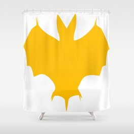 Orange-Yellow Silhouette Of a Bat  Shower Curtain