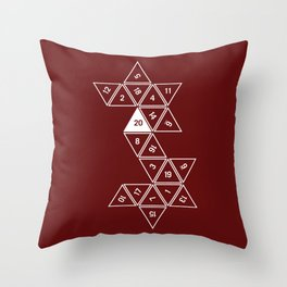 Red Unrolled D20 Throw Pillow