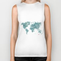 vintage map Biker Tanks featuring World Map Blue Vintage by City Art Posters