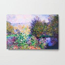 Monet Garden Montgeron Low Poly Geometric Triangles Metal Print