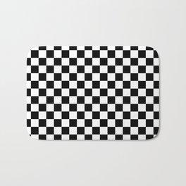 Race Flag Black and White Checkerboard Bath Mat