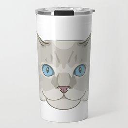 Birman Cat Head Cartoon Travel Mug