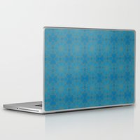coasters Laptop & iPad Skins featuring Gold Lace on Blue by Lena Photo Art