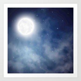 Night sky moon Art Print
