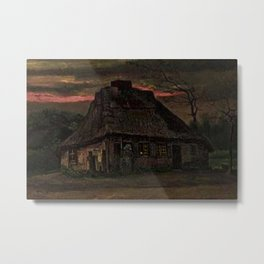 Cottage at Nightfall (with Pink Sunset) by Vincent van Gogh Metal Print