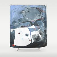 jake Shower Curtains featuring Jake & Nathaniel by Joule