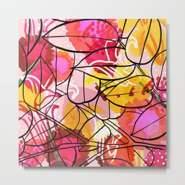 Painted Flowers & leaf Metal Print