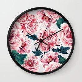 Pattern pink vintage peonies Wall Clock