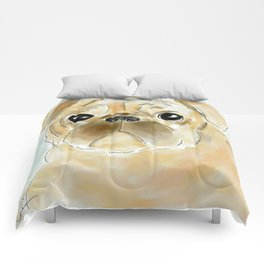 Pug face brown Comforters