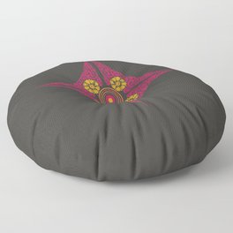Pata Pattern in Pink & Yellow on Black Floor Pillow