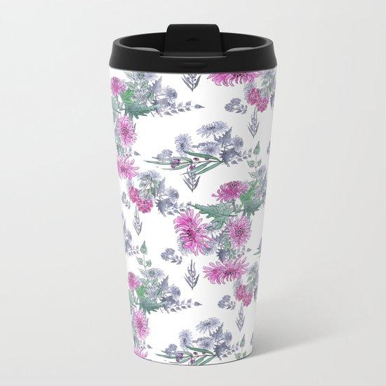 Watercolor floral pattern . 11 Metal Travel Mug