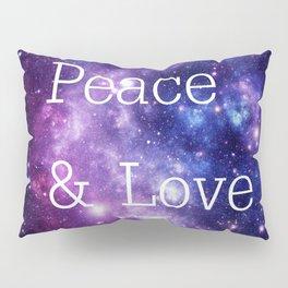 Peace & Love Space purple blue Pillow Sham