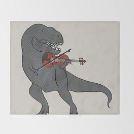 T-Rex Violin Throw Blanket