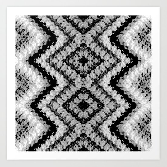 Black White Diamond Crochet Pattern Art Print