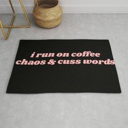 coffee chaos & cuss words Rug