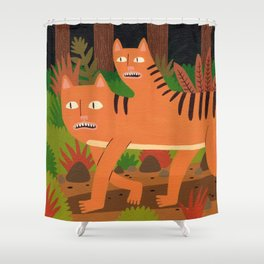 Two-headed Cat Shower Curtain