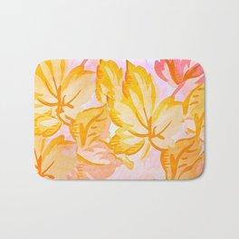 Soft Painterly Pastel Autumn Leaves Bath Mat