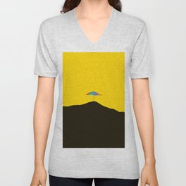 Colorful Umbrella On A Black Mountain In A Yellow Background - #society6 #buyart Unisex V-Neck