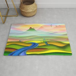 Fantasy valley naive artwork Rug