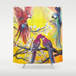 Australian spring. Parrots Shower Curtain