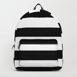 Stripe Black And White Horizontal Line Bold Minimalism Backpack