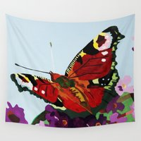 butterfly Wall Tapestries featuring Butterfly   by Marjolein